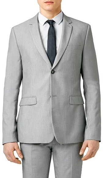 Topman Skinny Fit Textured Grey Suit Jacket