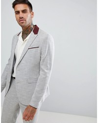 ASOS DESIGN Skinny Suit Jacket In Light Grey Texture With