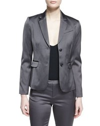 Stretch satin two button blazer dark gray medium 3663920