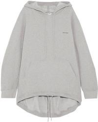 Balenciaga Cocoon Cotton Blend Jersey Hooded Top Gray