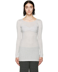 MM6 MAISON MARGIELA Grey Faux Balconette Ribbed Top