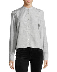 Rag & Bone Jean Leeds Cropped Blouse Light Gray