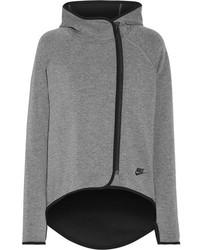 Nike Tech Fleece Cotton Blend Jersey Hooded Top Gray