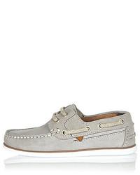 River Island Boys Grey Suede Boat Shoes