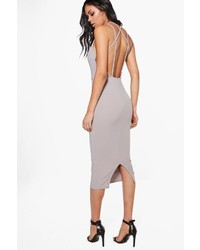 Boohoo Evie Strappy Back Midi Bodycon Dress