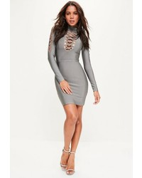 Missguided Grey Bandage Lattice Detail Long Sleeve Bodycon Dress