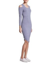 Monrow Heathered Cold Shoulder Bodycon Dress