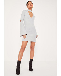 Missguided grey choker neck flared sleeve bodycon dress medium 967713