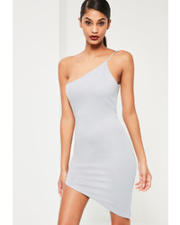 Missguided Grey One Shoulder Bodycon Asymmetric Dress