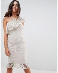 Girl In Mind One Shoulder Frill Midi Dress