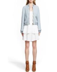 Chloé Chloe Double Washed Lambskin Leather Bomber Jacket