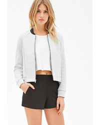 Forever 21 Contemporary Heathered Scuba Knit Bomber Jacket | Where ...
