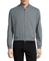 Costume national zip front bomber jacket gray medium 639080