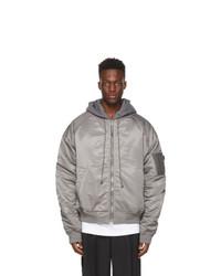 Juun.J Grey Detachable Hood Bomber Jacket