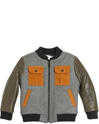 Little Marc Jacobs Padded Wool Felt Leather Bomber Jacket