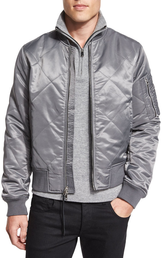 49e608999 $695, Rag and Bone Rag Bone Manston Quilted Zip Up Bomber Jacket Gray