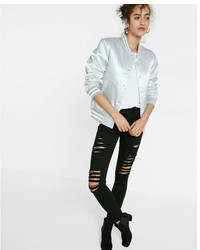 Express Shiny Silver Filled Bomber Jacket
