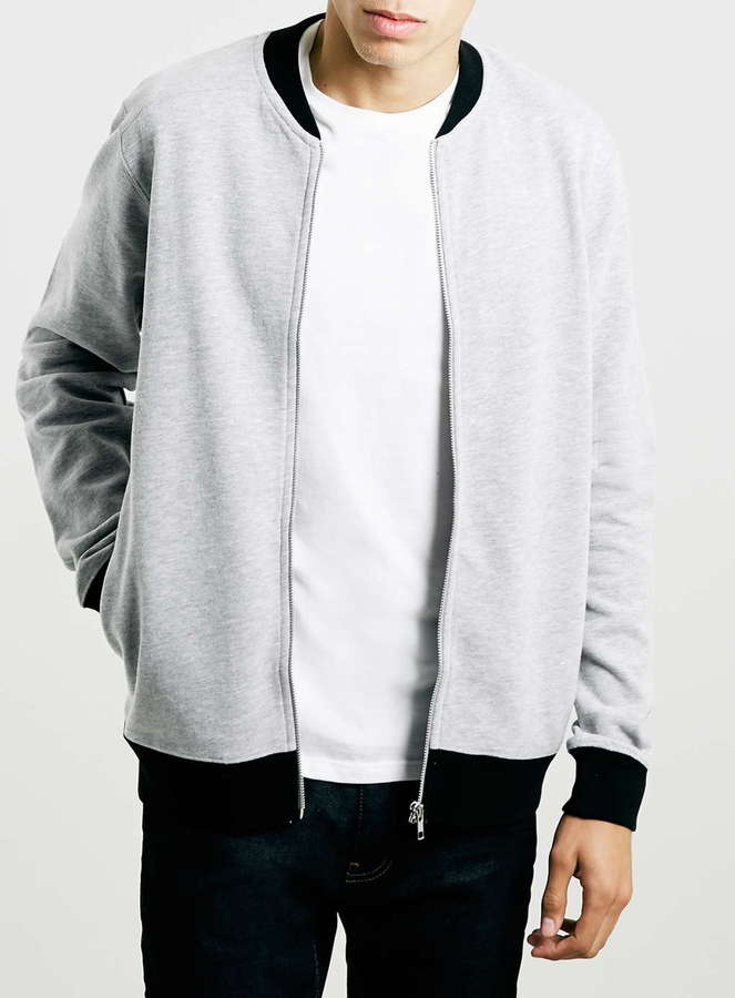 Topman Grey Contrast Rib Jersey Bomber Jacket | Where to buy & how ...