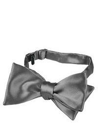 Forzieri Dark Gray Solid Silk Self Tie Bowtie