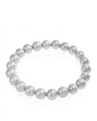 Bling Jewelry Round Grey South Sea Shell Pearl Stretch Bracelet 8mm