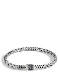 John Hardy Classic Chain Extra Small Pav Pusher Clasp Bracelet