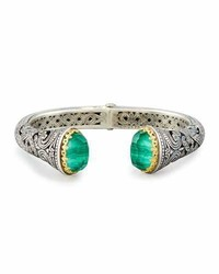 Hinged green crystal quartz over malachite cuff bracelet medium 950333
