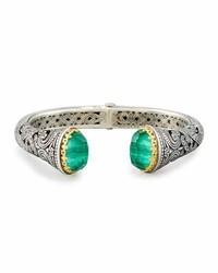 Konstantino Hinged Green Crystal Quartz Over Malachite Cuff Bracelet