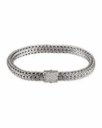 John Hardy Modern Chain Medium Bracelet With Diamond Pave Clasp Size M