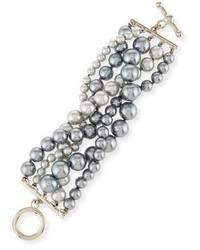 Kenneth Jay Lane Pearly Five Row Bracelet Gray