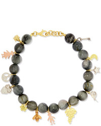 Carolina Bucci Recharmed Lucky 18 Karat Yellow Rose And White Gold And Agate Bracelet Gray