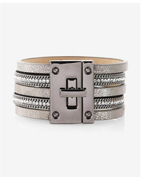 Express Rhinestone Metallic Turnlock Bracelet