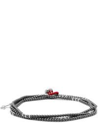 Isaia Silver Hematite Wrap Bracelet