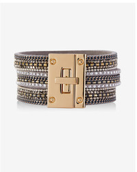 Express Triple Band Mixed Chain And Rhinestone Bracelet
