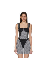 Paolina Russo White And Grey Illusion Knit Bullseye Bustier Tank Top