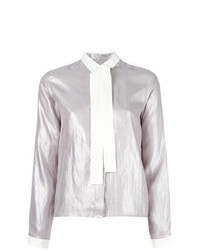 MM6 MAISON MARGIELA Tie Neck Metallic Shirt