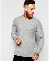 Asos Dropped Shoulder Cable Sweater In Merino Wool Mix