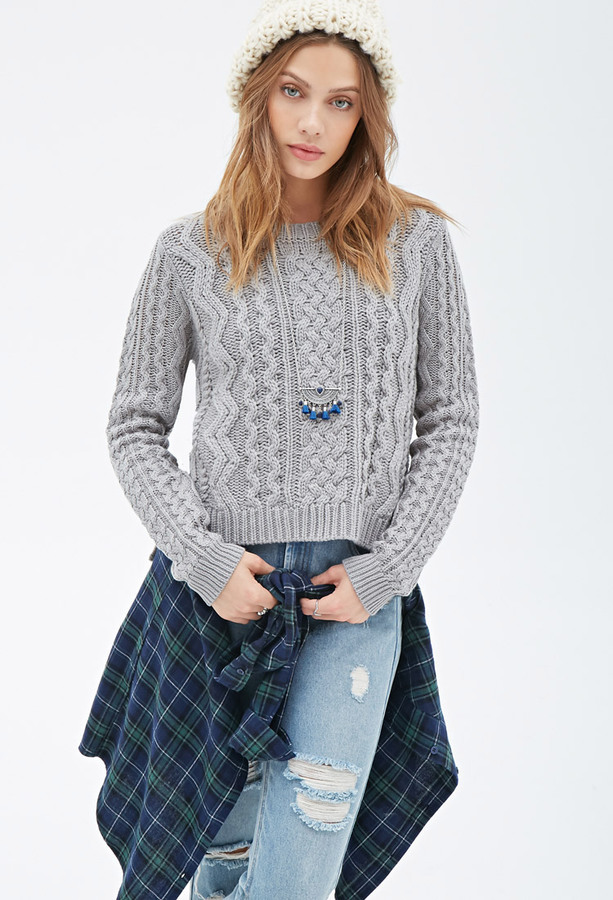 ... Forever 21 Boxy Cable Knit Sweater ...