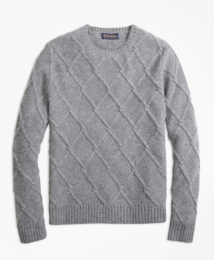 db5bc01e3 Brooks Brothers Lambswool Lattice Cable Knit Crewneck Sweater