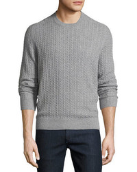 Neiman Marcus Cable Knit Cashmere Crewneck Sweater