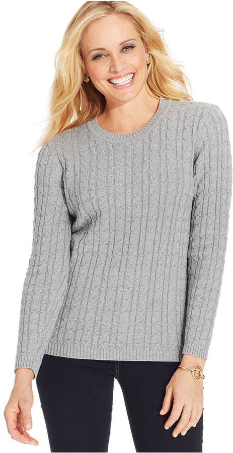 Karen Scott Cable Knit Crew Neck Sweater | Where to buy & how to wear