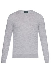 Zanone Cable Knit Virgin Wool Blend Sweater