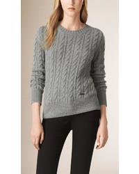 Burberry Cable Knit Wool Cashmere Sweater