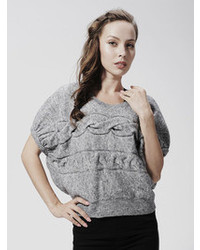 Choies Celebona Gray Turtleneck Cabled Jumper With Bat Sleeve