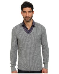 John Varvatos Collection Plaited Long Sleeve V Neck Cable Sweater Y1558q4