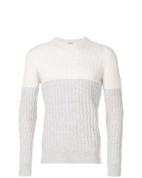 Eleventy Colourblock Cable Knit Sweater