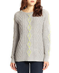 Contrast stitched cable knit sweater medium 98604