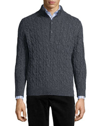 Neiman Marcus Donegal Wool Cable Knit Sweater Gray