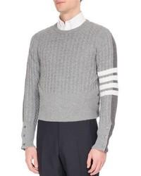 Four bar cable knit cardigan back cashmere sweater medium 6873866