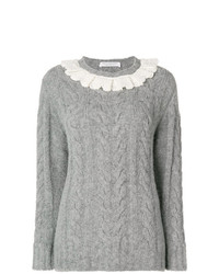 Philosophy di Lorenzo Serafini Frill Trim Cable Knit Sweater