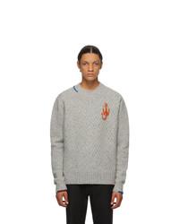 JW Anderson Grey Knit Crewneck Sweater